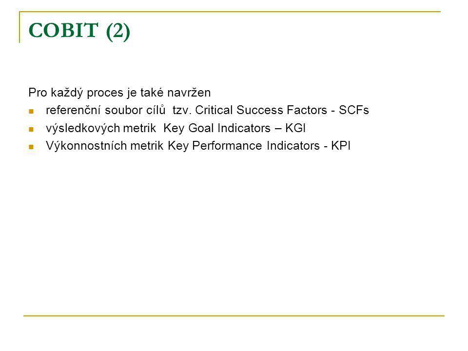 COBIT (2) Pro každý proces je také navržen referenční soubor cílů tzv. Critical Success Factors - SCFs výsledkových metrik Key Goal Indicators – KGI V