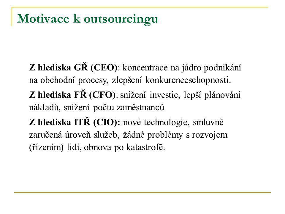 Motivace k outsourcingu Z hlediska GŘ (CEO): koncentrace na jádro podnikání na obchodní procesy, zlepšení konkurenceschopnosti. Z hlediska FŘ (CFO): s