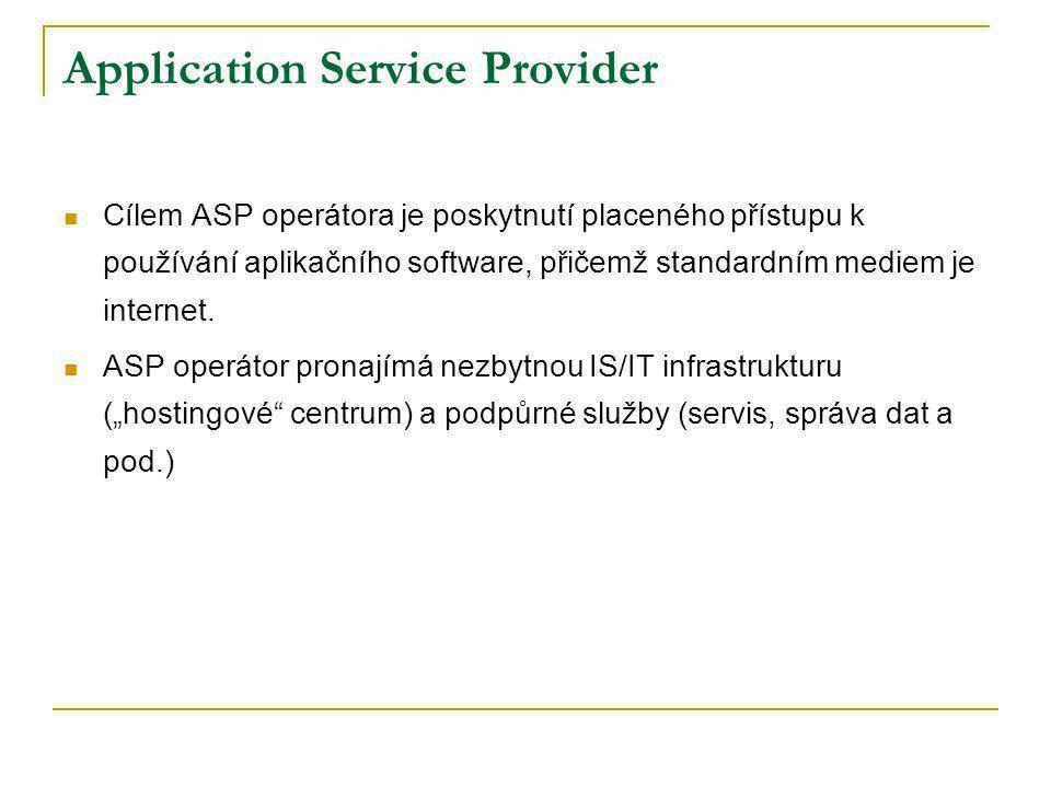 Application Service Provider Cílem ASP operátora je poskytnutí placeného přístupu k používání aplikačního software, přičemž standardním mediem je inte