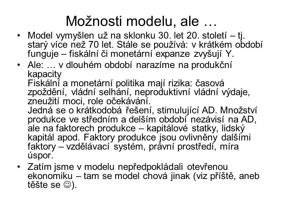 Možnosti modelu, ale … Model vymyšlen už na sklonku 30. let 20. století – tj. starý více než 70 let. Stále se používá: v krátkém období funguje – fisk