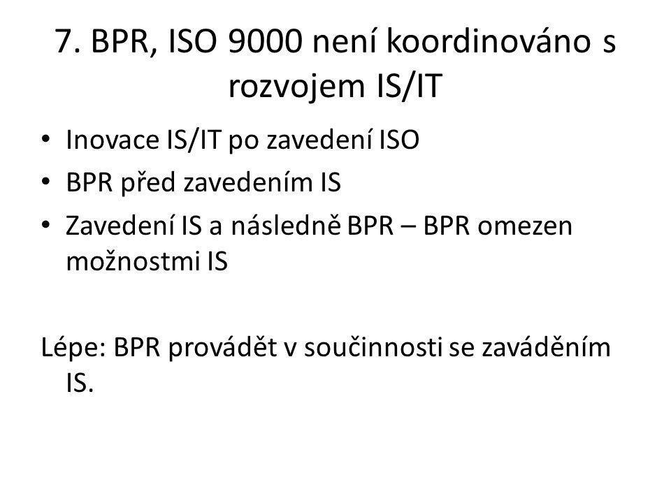 7. BPR, ISO 9000 není koordinováno s rozvojem IS/IT Inovace IS/IT po zavedení ISO BPR před zavedením IS Zavedení IS a následně BPR – BPR omezen možnos