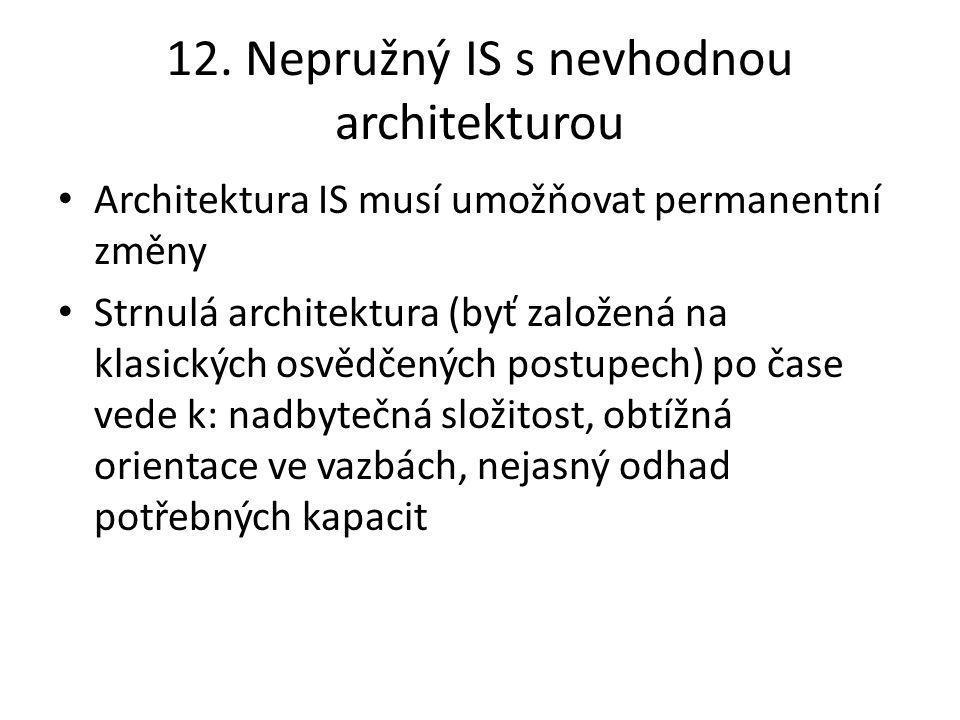 12. Nepružný IS s nevhodnou architekturou Architektura IS musí umožňovat permanentní změny Strnulá architektura (byť založená na klasických osvědčenýc