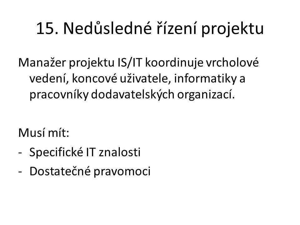 15. Nedůsledné řízení projektu Manažer projektu IS/IT koordinuje vrcholové vedení, koncové uživatele, informatiky a pracovníky dodavatelských organiza