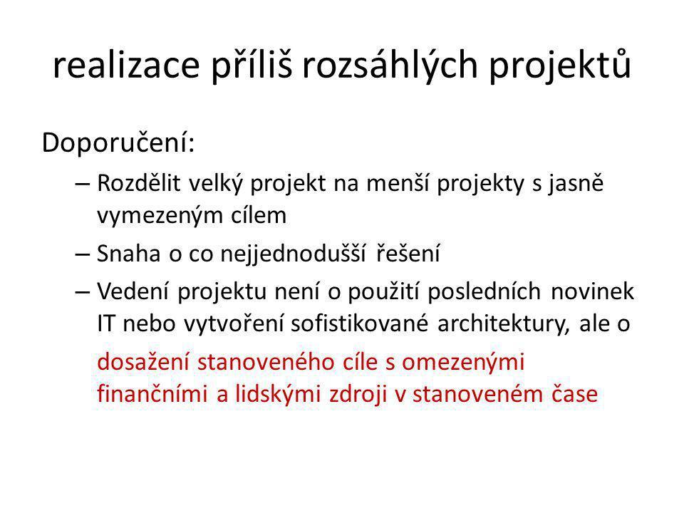 realizace příliš rozsáhlých projektů Doporučení: – Rozdělit velký projekt na menší projekty s jasně vymezeným cílem – Snaha o co nejjednodušší řešení