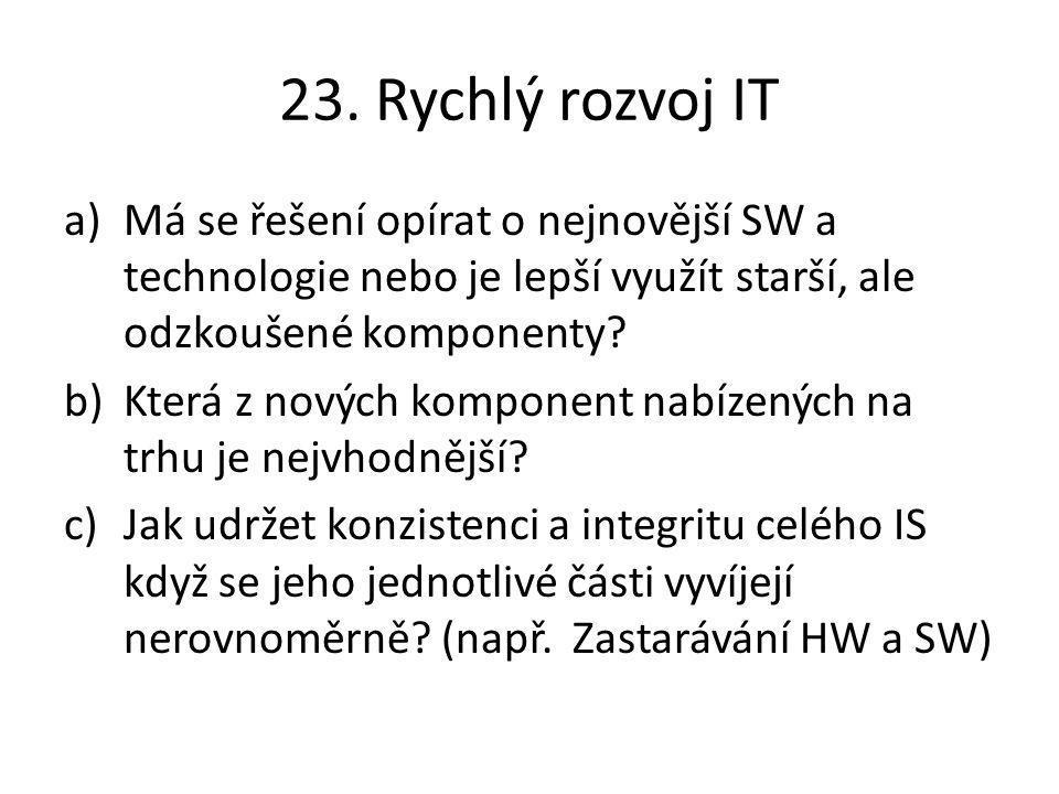 23. Rychlý rozvoj IT a)Má se řešení opírat o nejnovější SW a technologie nebo je lepší využít starší, ale odzkoušené komponenty? b)Která z nových komp