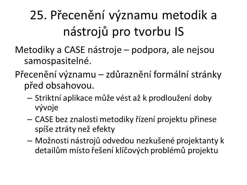 25. Přecenění významu metodik a nástrojů pro tvorbu IS Metodiky a CASE nástroje – podpora, ale nejsou samospasitelné. Přecenění významu – zdůraznění f