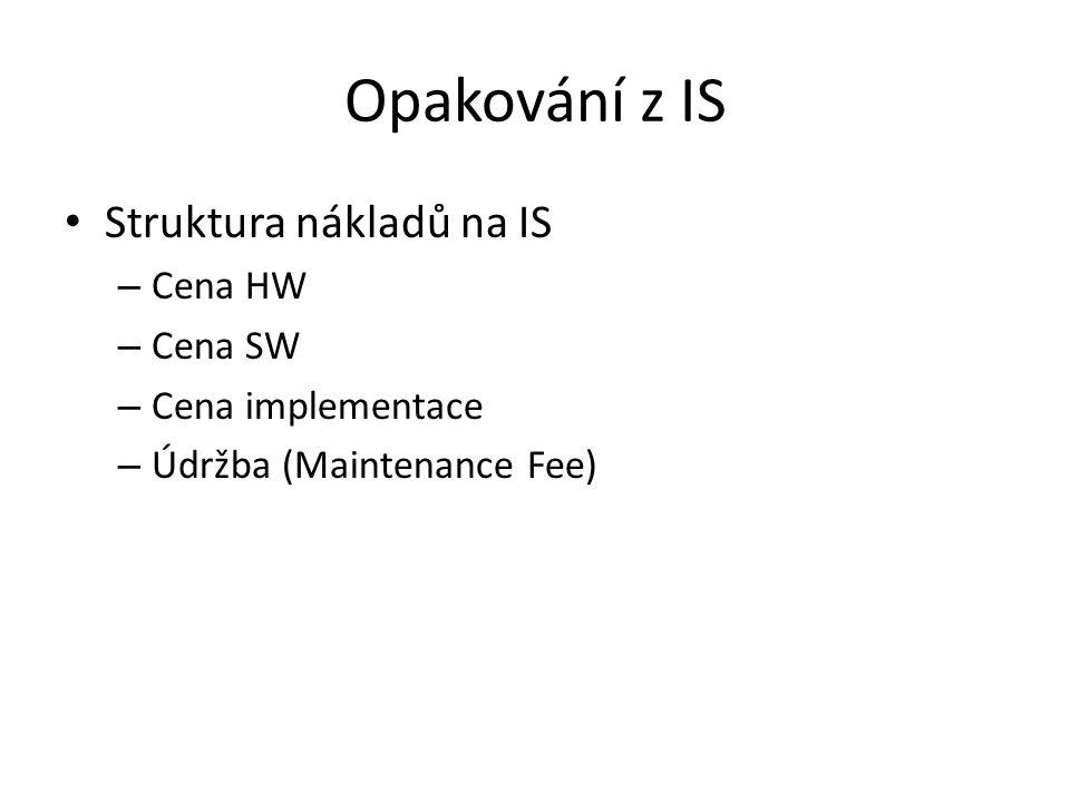 Opakování z IS Struktura nákladů na IS – Cena HW – Cena SW – Cena implementace – Údržba (Maintenance Fee)