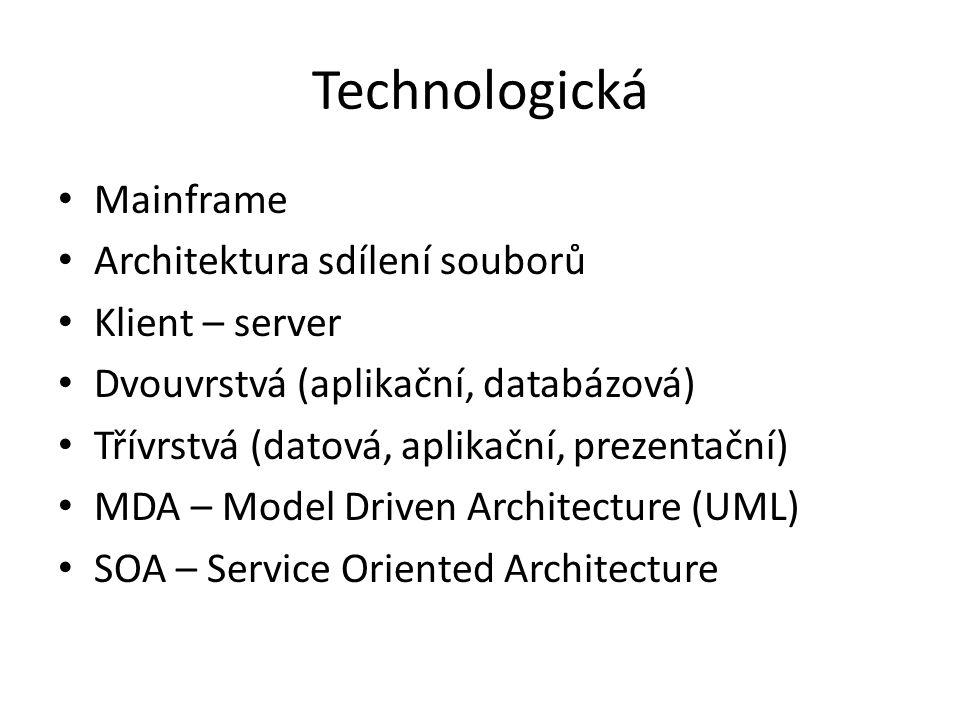 Technologická Mainframe Architektura sdílení souborů Klient – server Dvouvrstvá (aplikační, databázová) Třívrstvá (datová, aplikační, prezentační) MDA