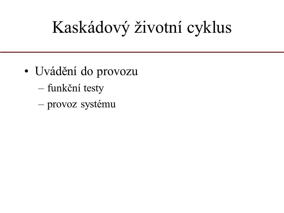 Kaskádový životní cyklus Uvádění do provozu –funkční testy –provoz systému