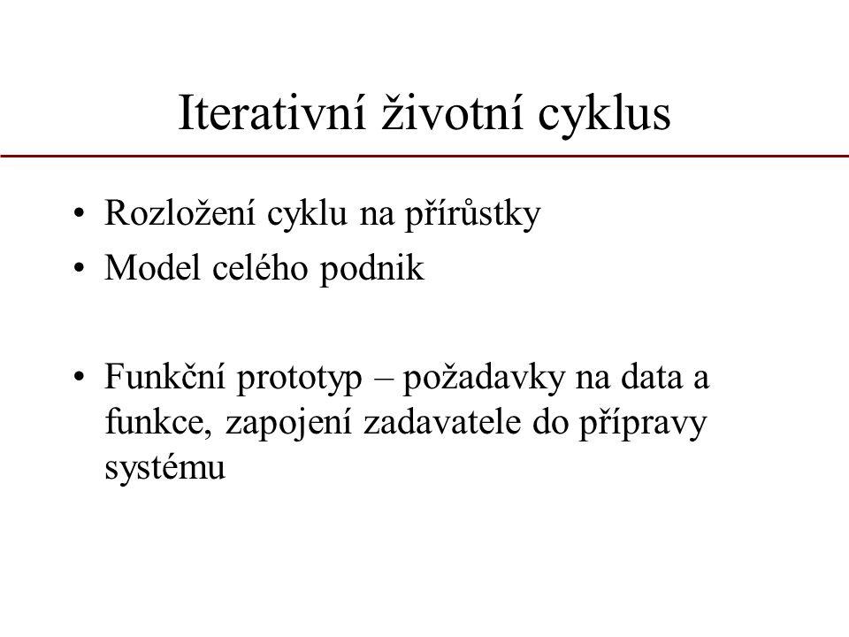 Iterativní životní cyklus Rozložení cyklu na přírůstky Model celého podnik Funkční prototyp – požadavky na data a funkce, zapojení zadavatele do přípr