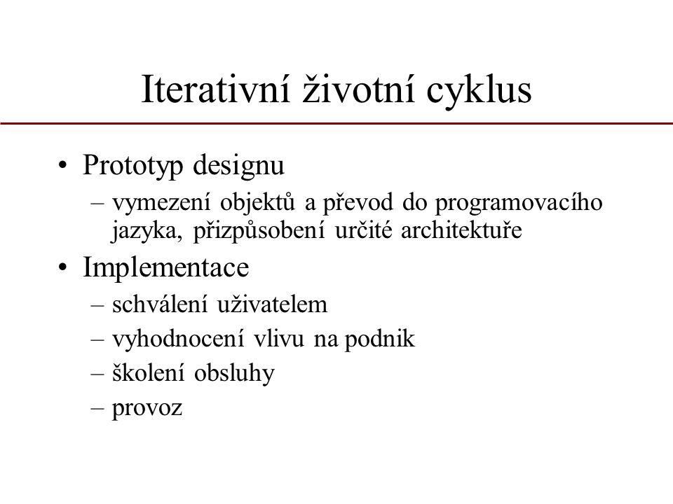 Iterativní životní cyklus Prototyp designu –vymezení objektů a převod do programovacího jazyka, přizpůsobení určité architektuře Implementace –schvále