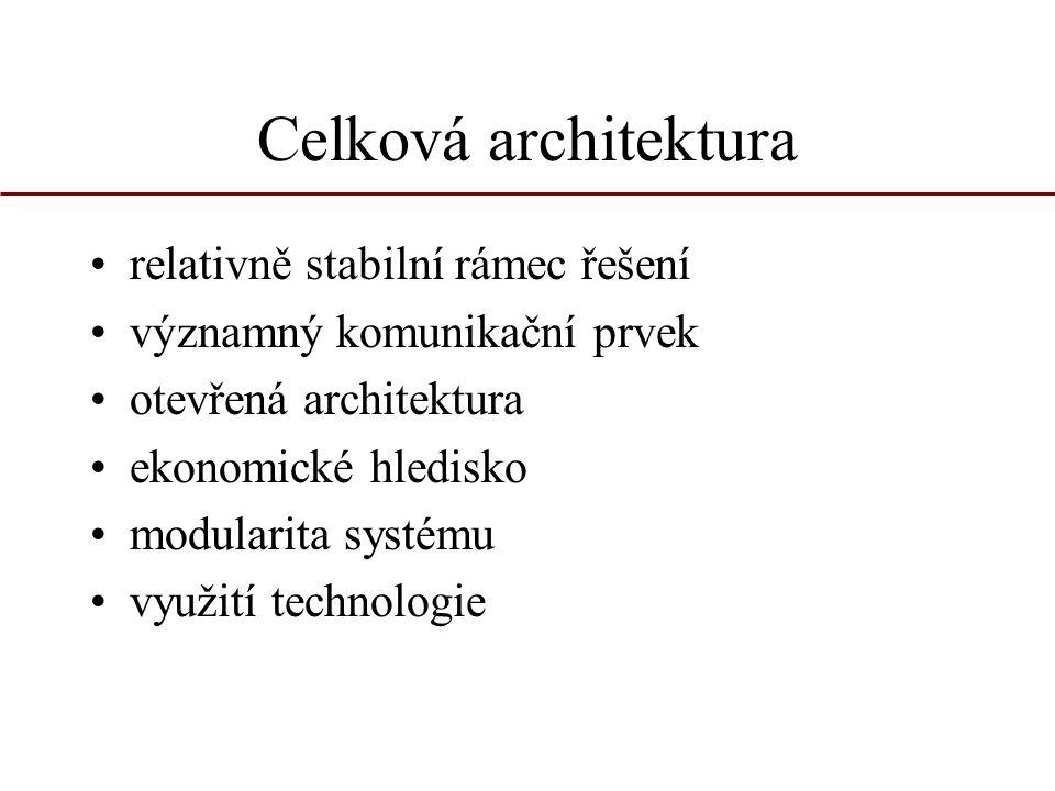 Celková architektura relativně stabilní rámec řešení významný komunikační prvek otevřená architektura ekonomické hledisko modularita systému využití t