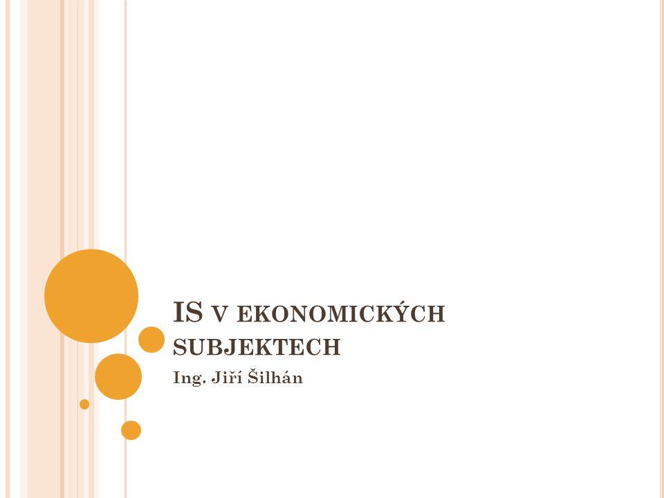 IS V EKONOMICKÝCH SUBJEKTECH Ing. Jiří Šilhán