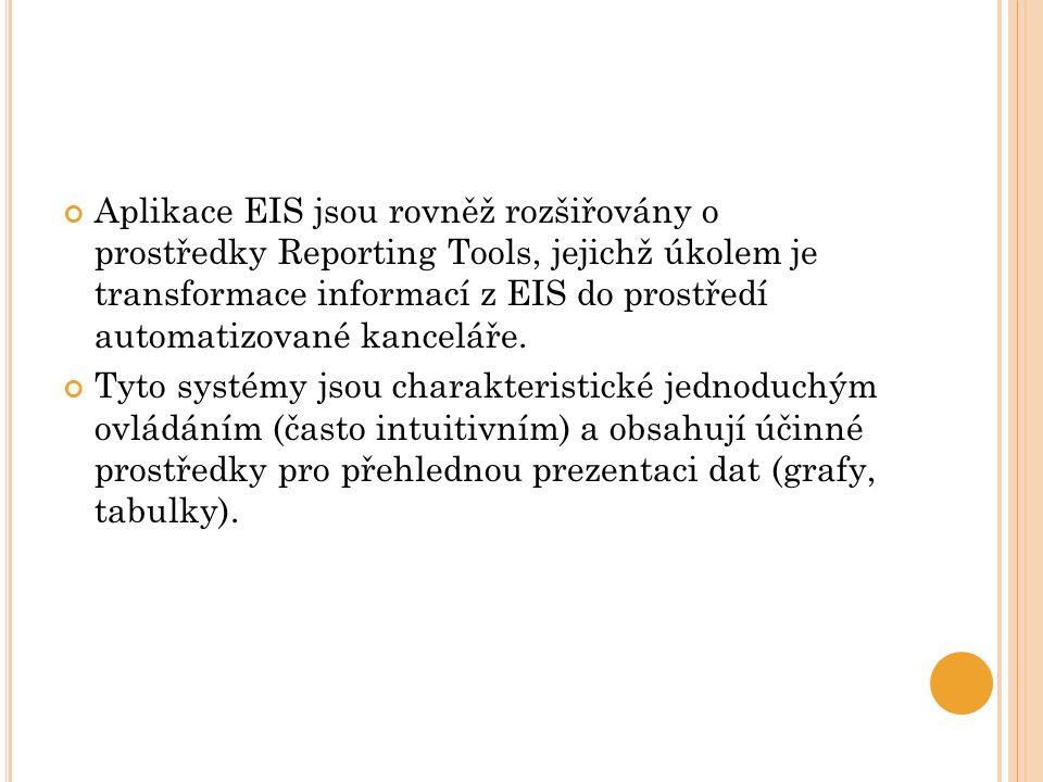 Aplikace EIS jsou rovněž rozšiřovány o prostředky Reporting Tools, jejichž úkolem je transformace informací z EIS do prostředí automatizované kancelář