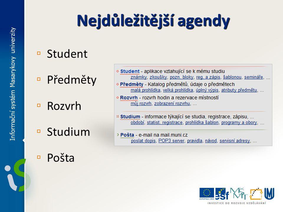 Nejdůležitější agendy ▫ Student ▫ Předměty ▫ Rozvrh ▫ Studium ▫ Pošta Informační systém Masarykovy univerzity