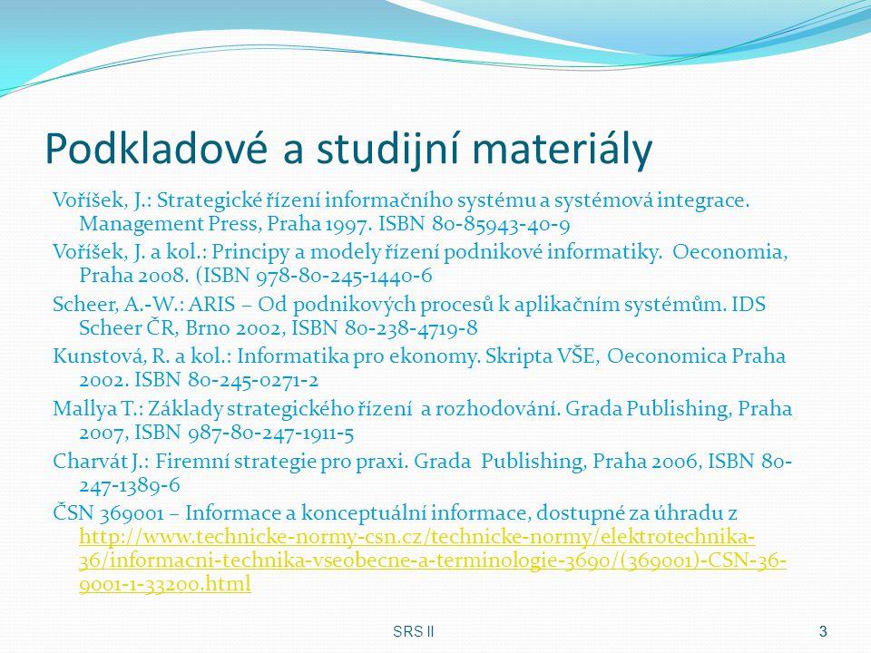 Podkladové a studijní materiály Voříšek, J.: Strategické řízení informačního systému a systémová integrace. Management Press, Praha 1997. ISBN 80-8594