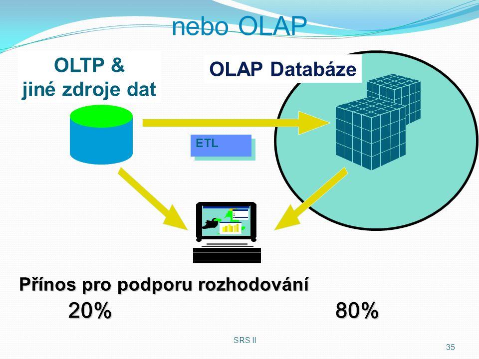20%80% OLTP & jiné zdroje dat OLAP Databáze Přínos pro podporu rozhodování SRS II 35 nebo OLAP ETL