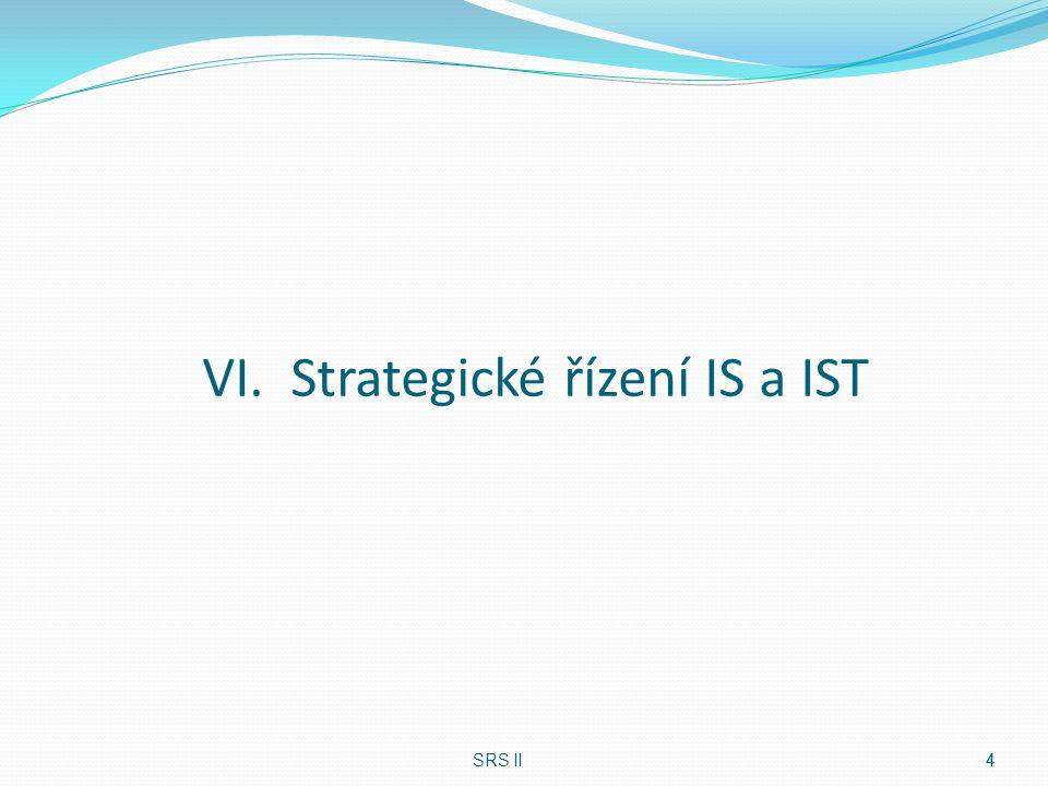 Informační strategie Hlavní výstup strategického řízení IT Jedna z dílčích strategií Navazuje na globální strategii Podpora pro realizaci cílů společnosti Co je optimální podpora SRS II5