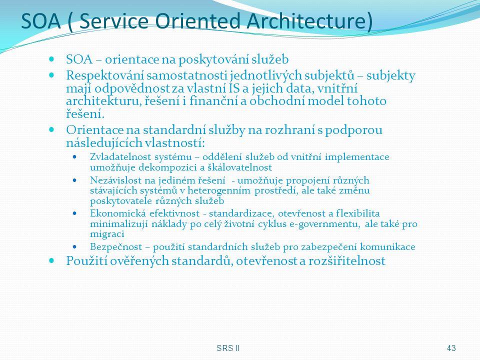 SOA ( Service Oriented Architecture) SOA – orientace na poskytování služeb Respektování samostatnosti jednotlivých subjektů – subjekty mají odpovědnos