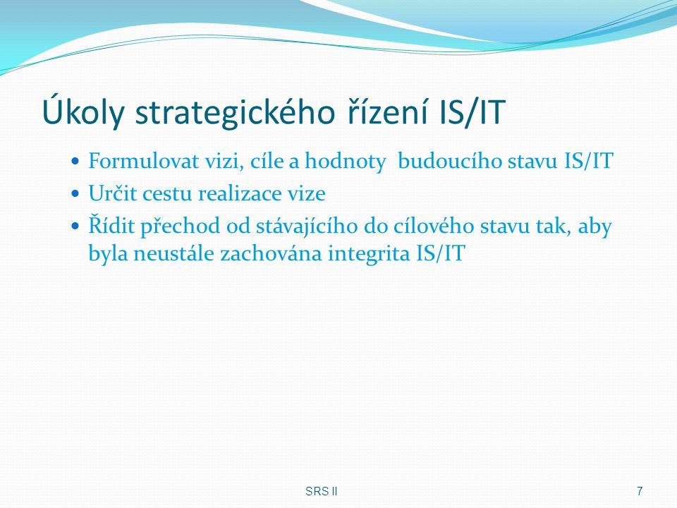 Architektura IS/ICT Podstata a účel architektury IS/ICT: Strategická orientace Adekvátní funkční spektrum Integrovanost – IS/ICT Otevřenost Jednoduchost Flexibilita Snadná údržba Efektivní provozuschopnost SRS II 38 Návrh architektury IS/ICT je jednou z nejvýznamnějších činností strategického řízení informačního systému