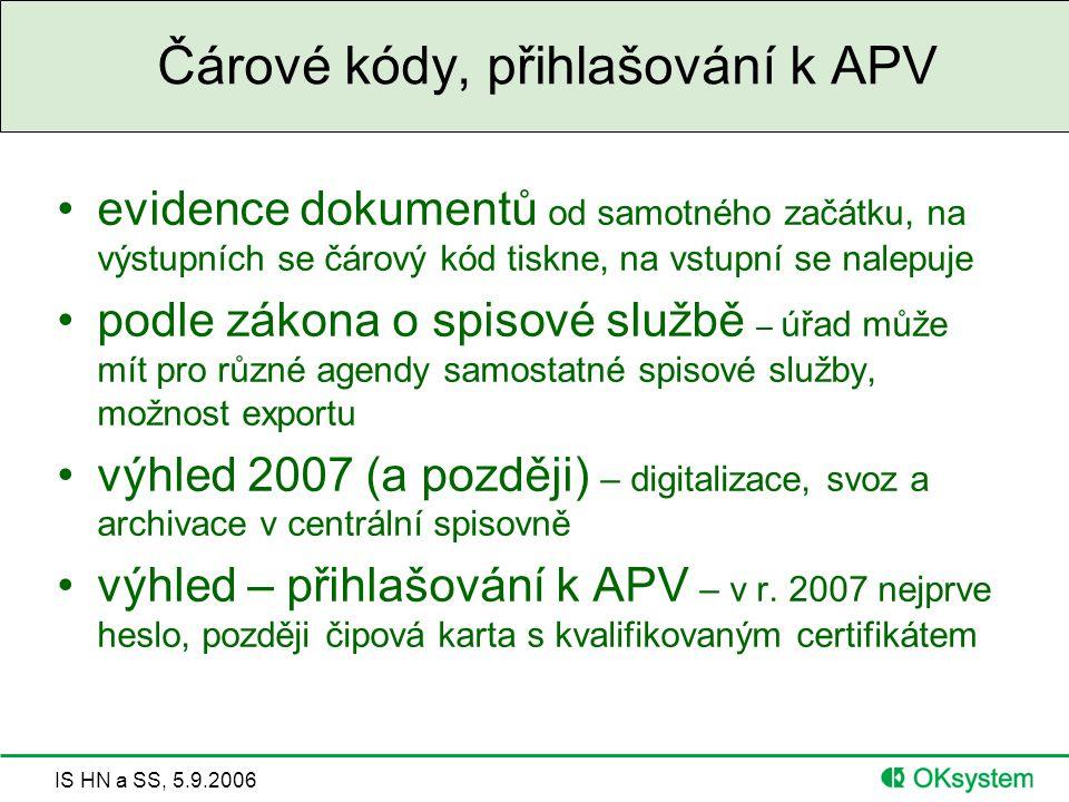IS HN a SS, 5.9.2006 Čárové kódy, přihlašování k APV evidence dokumentů od samotného začátku, na výstupních se čárový kód tiskne, na vstupní se nalepuje podle zákona o spisové službě – úřad může mít pro různé agendy samostatné spisové služby, možnost exportu výhled 2007 (a později) – digitalizace, svoz a archivace v centrální spisovně výhled – přihlašování k APV – v r.