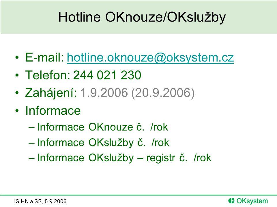 IS HN a SS, 5.9.2006 Hotline OKnouze/OKslužby E-mail: hotline.oknouze@oksystem.czhotline.oknouze@oksystem.cz Telefon: 244 021 230 Zahájení: 1.9.2006 (