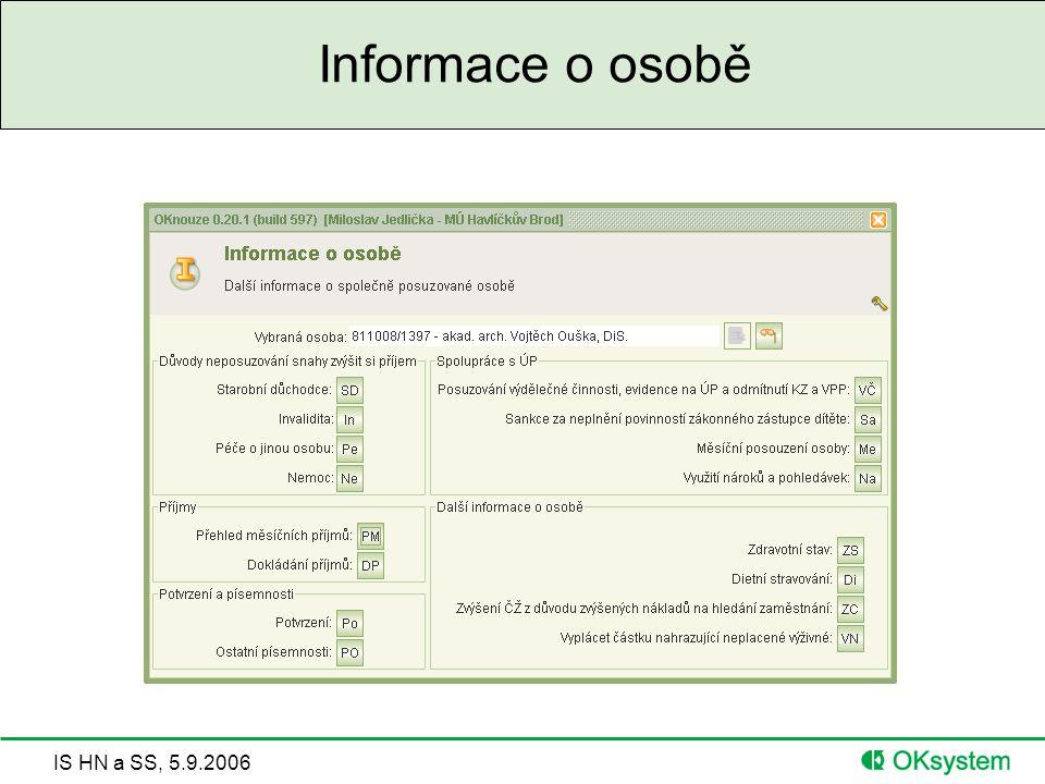 IS HN a SS, 5.9.2006 Informace o osobě