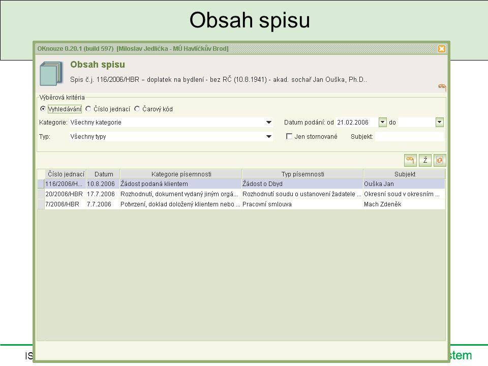 IS HN a SS, 5.9.2006 Obsah spisu