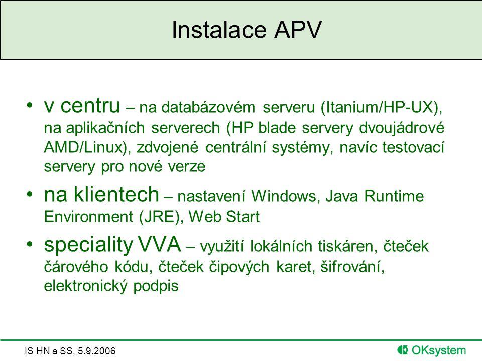 IS HN a SS, 5.9.2006 Instalace APV v centru – na databázovém serveru (Itanium/HP-UX), na aplikačních serverech (HP blade servery dvoujádrové AMD/Linux), zdvojené centrální systémy, navíc testovací servery pro nové verze na klientech – nastavení Windows, Java Runtime Environment (JRE), Web Start speciality VVA – využití lokálních tiskáren, čteček čárového kódu, čteček čipových karet, šifrování, elektronický podpis