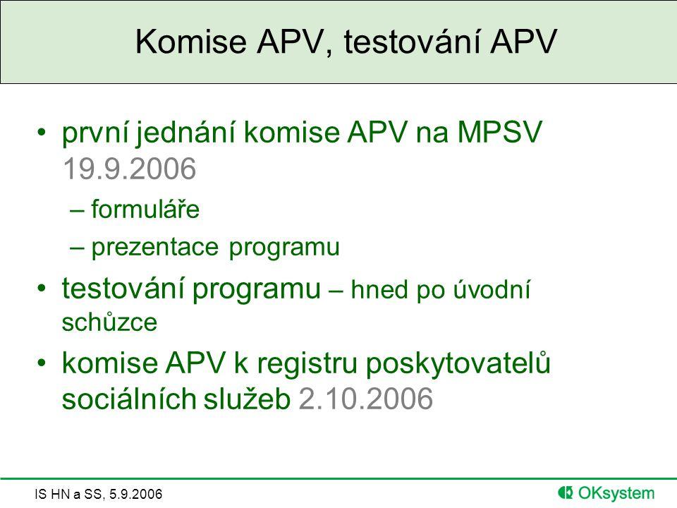 IS HN a SS, 5.9.2006 Komise APV, testování APV první jednání komise APV na MPSV 19.9.2006 –formuláře –prezentace programu testování programu – hned po úvodní schůzce komise APV k registru poskytovatelů sociálních služeb 2.10.2006