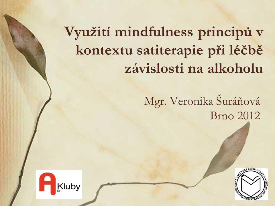 Využití mindfulness principů v kontextu satiterapie při léčbě závislosti na alkoholu Mgr. Veronika Šuráňová Brno 2012