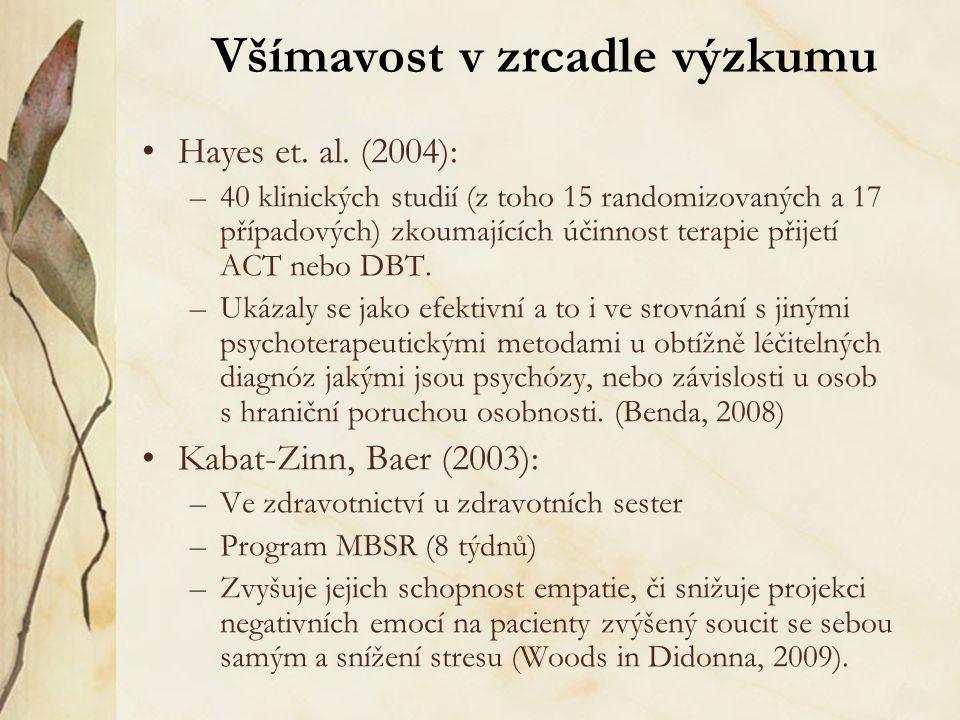 Všímavost v zrcadle výzkumu Hayes et. al. (2004): –40 klinických studií (z toho 15 randomizovaných a 17 případových) zkoumajících účinnost terapie při