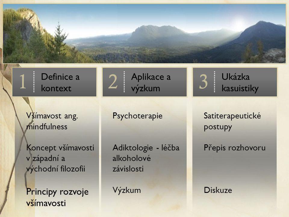 Satiterapeutické postupy Přepis rozhovoru Diskuze Psychoterapie Adiktologie - léčba alkoholové závislosti Výzkum Všímavost ang. mindfulness Koncept vš