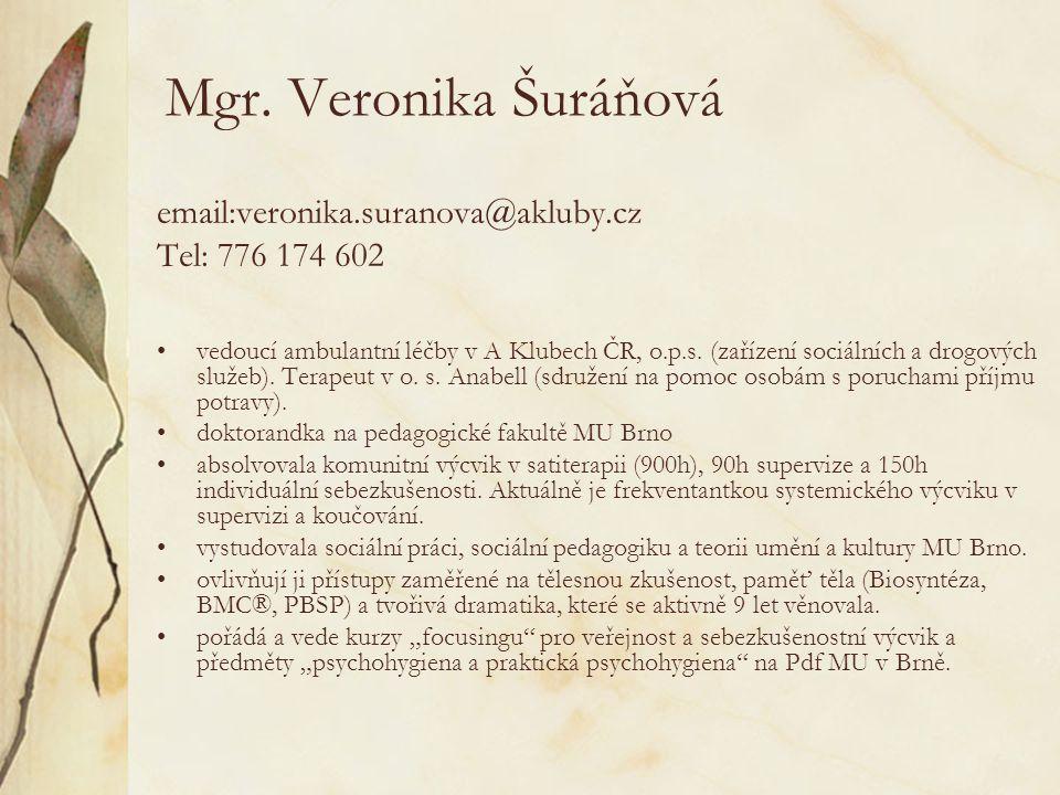 Mgr. Veronika Šuráňová email:veronika.suranova@akluby.cz Tel: 776 174 602 vedoucí ambulantní léčby v A Klubech ČR, o.p.s. (zařízení sociálních a drogo
