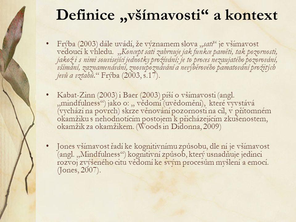 """Definice """"všímavosti"""" a kontext Frýba (2003) dále uvádí, že významem slova """"sati"""" je všímavost vedoucí k vhledu. """"Koncept sati zahrnuje jak funkce pam"""