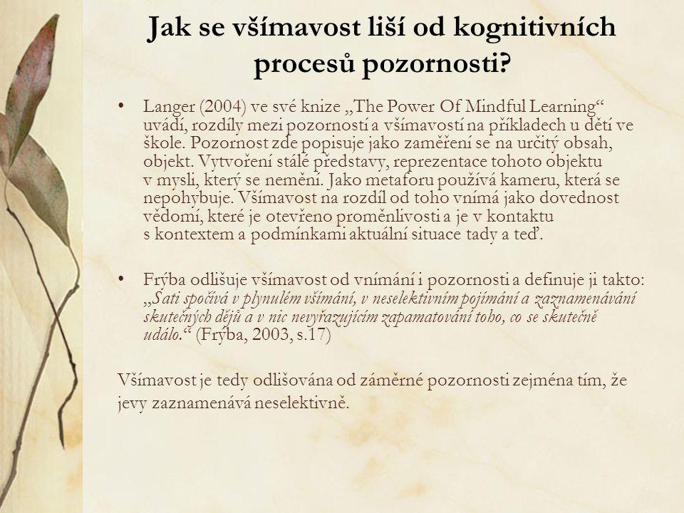 """Jak se všímavost liší od kognitivních procesů pozornosti? Langer (2004) ve své knize """"The Power Of Mindful Learning"""" uvádí, rozdíly mezi pozorností a"""