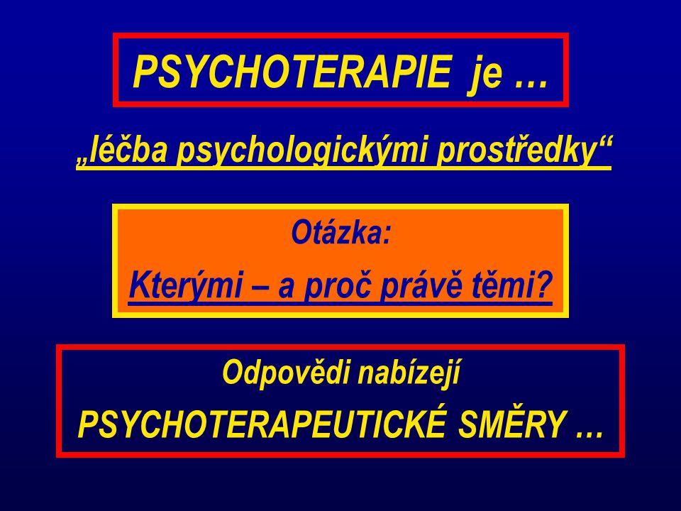 """PSYCHOTERAPIE je … """" léčba psychologickými prostředky"""" Otázka: Kterými – a proč právě těmi? Odpovědi nabízejí PSYCHOTERAPEUTICKÉ SMĚRY …"""
