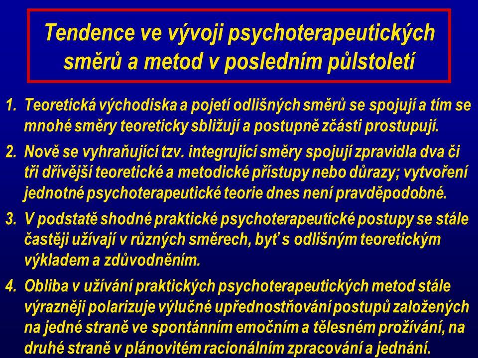 Tendence ve vývoji psychoterapeutických směrů a metod v posledním půlstoletí 1.Teoretická východiska a pojetí odlišných směrů se spojují a tím se mnoh