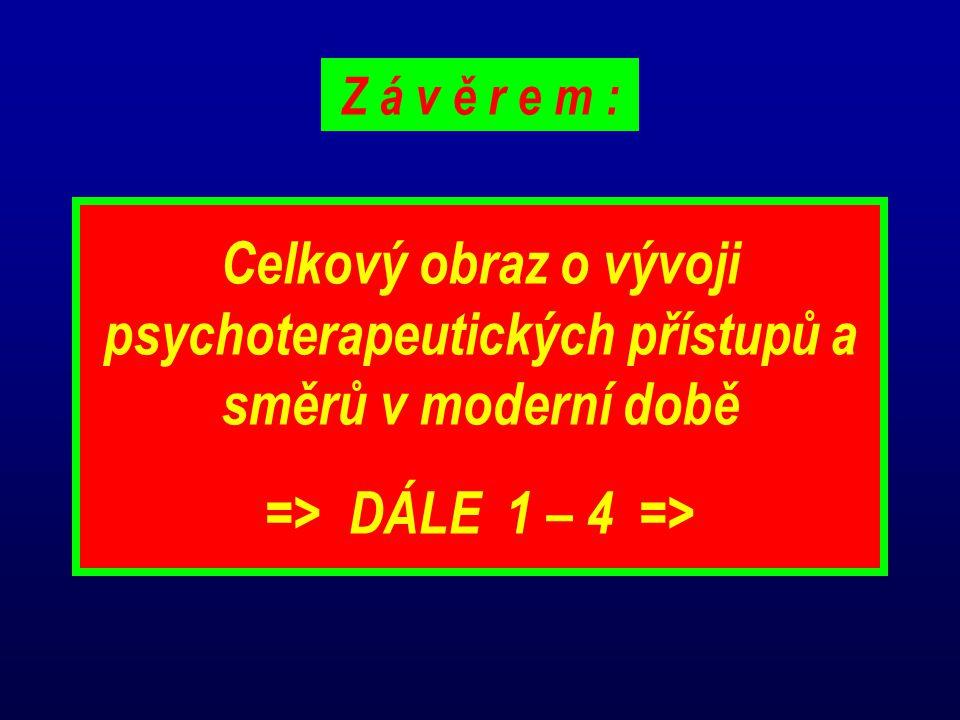 Celkový obraz o vývoji psychoterapeutických přístupů a směrů v moderní době => DÁLE 1 – 4 => Z á v ě r e m :