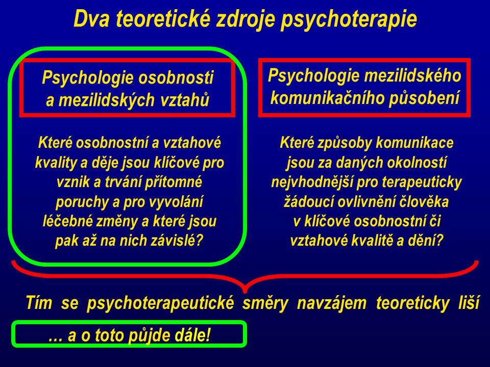 Dva teoretické zdroje psychoterapie Psychologie osobnosti a mezilidských vztahů Psychologie mezilidského komunikačního působení Které osobnostní a vzt
