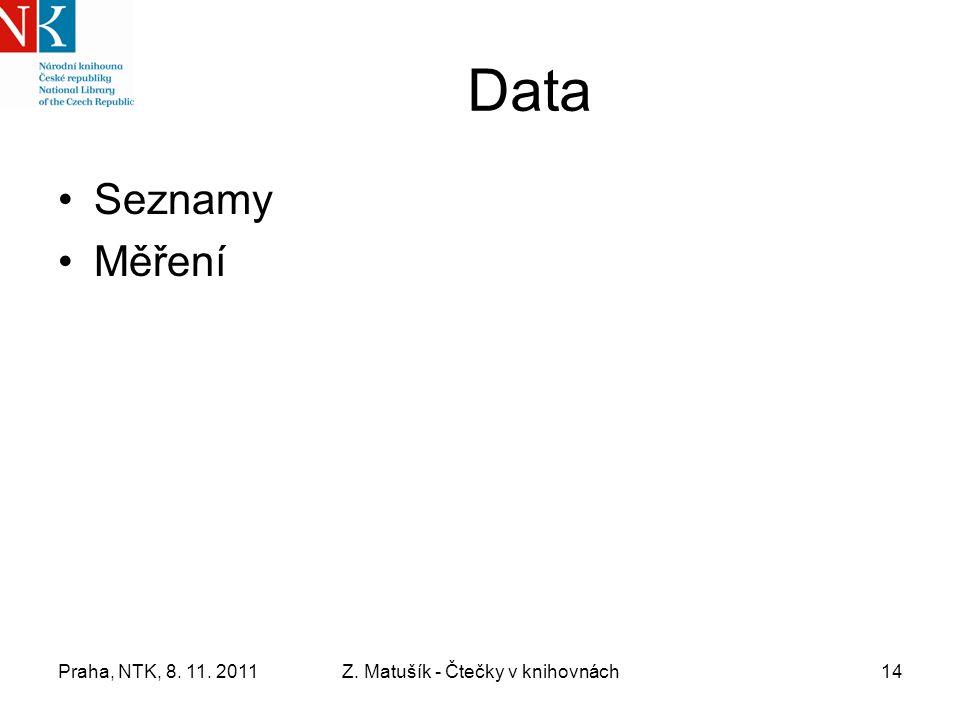 Praha, NTK, 8. 11. 2011Z. Matušík - Čtečky v knihovnách14 Data Seznamy Měření
