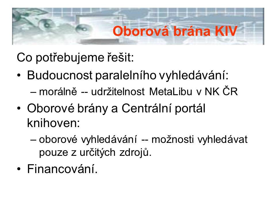 Co potřebujeme řešit: Budoucnost paralelního vyhledávání: –morálně -- udržitelnost MetaLibu v NK ČR Oborové brány a Centrální portál knihoven: –oborov