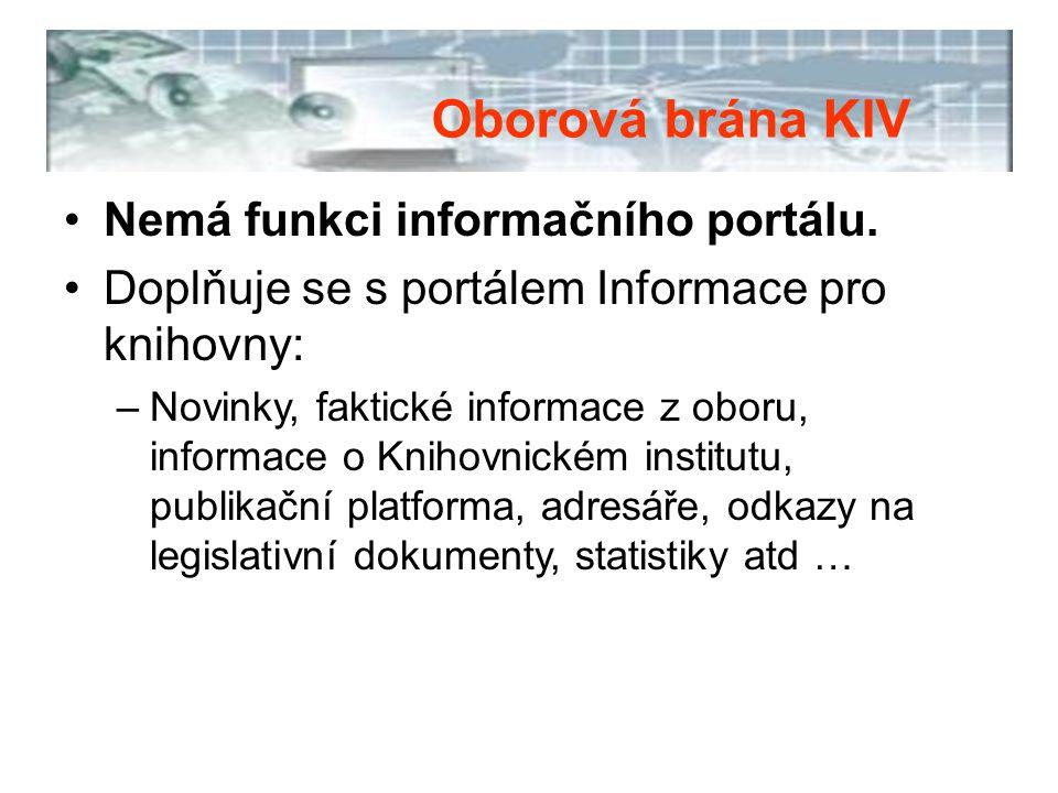 Nemá funkci informačního portálu. Doplňuje se s portálem Informace pro knihovny: –Novinky, faktické informace z oboru, informace o Knihovnickém instit