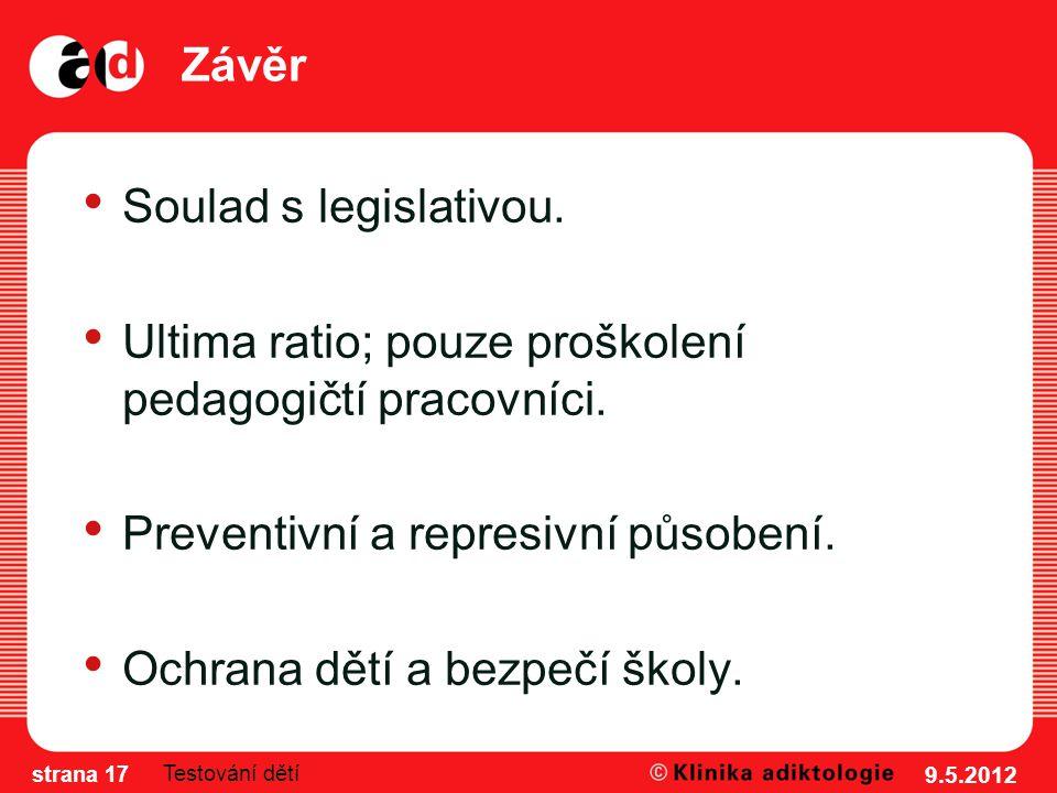 Závěr Soulad s legislativou. Ultima ratio; pouze proškolení pedagogičtí pracovníci.