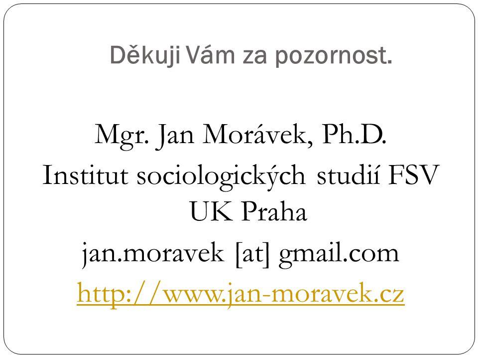 Děkuji Vám za pozornost. Mgr. Jan Morávek, Ph.D. Institut sociologických studií FSV UK Praha jan.moravek [at] gmail.com http://www.jan-moravek.cz