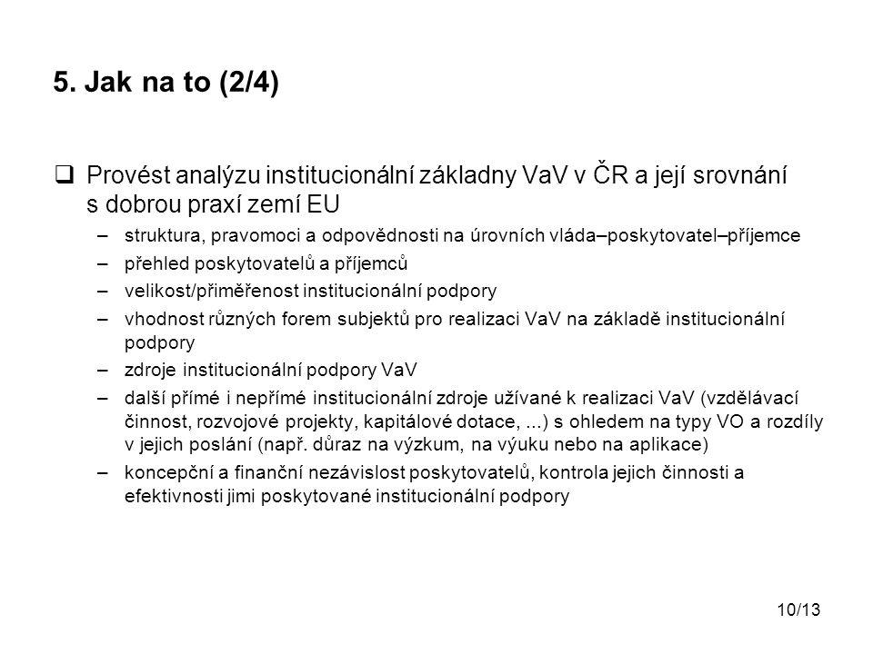 10/13 5. Jak na to (2/4)  Provést analýzu institucionální základny VaV v ČR a její srovnání s dobrou praxí zemí EU –struktura, pravomoci a odpovědnos