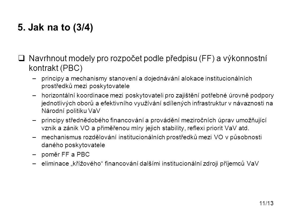 11/13 5. Jak na to (3/4)  Navrhnout modely pro rozpočet podle předpisu (FF) a výkonnostní kontrakt (PBC) –principy a mechanismy stanovení a dojednává