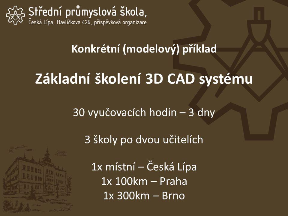 Konkrétní (modelový) příklad Základní školení 3D CAD systému 30 vyučovacích hodin – 3 dny 3 školy po dvou učitelích 1x místní – Česká Lípa 1x 100km – Praha 1x 300km – Brno