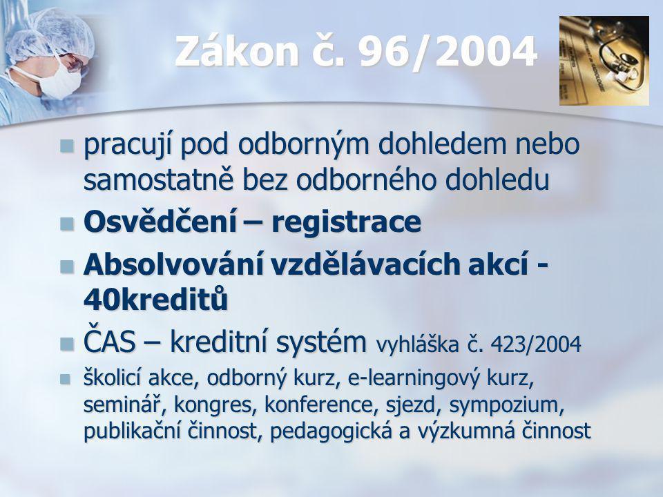 Zákon č. 96/2004 pracují pod odborným dohledem nebo samostatně bez odborného dohledu pracují pod odborným dohledem nebo samostatně bez odborného dohle