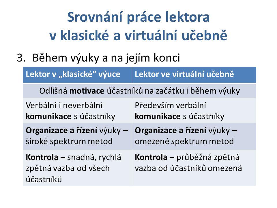 """Srovnání práce lektora v klasické a virtuální učebně 3.Během výuky a na jejím konci Lektor v """"klasické výuceLektor ve virtuální učebně Odlišná motivace účastníků na začátku i během výuky Verbální i neverbální komunikace s účastníky Především verbální komunikace s účastníky Organizace a řízení výuky – široké spektrum metod Organizace a řízení výuky – omezené spektrum metod Kontrola – snadná, rychlá zpětná vazba od všech účastníků Kontrola – průběžná zpětná vazba od účastníků omezená"""